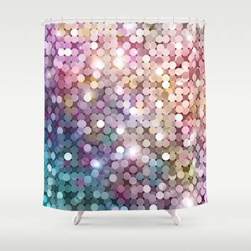 Rainbow glitter texture Shower Curtain by printapix