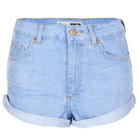 MOTO Blue High Waisted Hotpants - Light Blue
