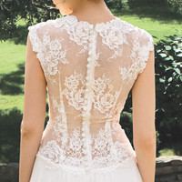 OFFER! Designer Wedding Gown Bohemian Wedding Dress Lace Back dress from chiffon Made to order