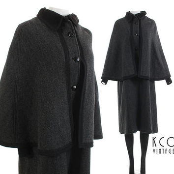 "Wool Cape Coat Velvet Herringbone Gray Black Wool Duster Jacket 70s Goth Victorian Steampunk Cloak Vintage Clothing Women's Size MED 40""bust"