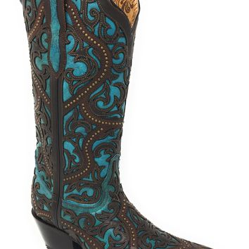 Corral Brown & Turquoise Leather Overlay Snip Toe Boots G1415