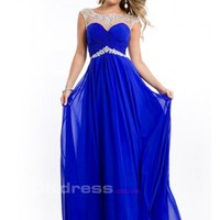 A-line Bateau Sleeveless Chiffon With Beaded Scoop Prom Dresses - by OKDress UK