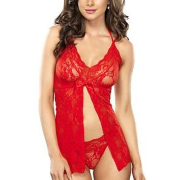 The 2PC. Stretch Lace Split Halter Flyaway Babydoll G-string in Red