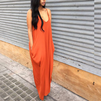Women's Orange Coral Scoop Neck Strappy Flowy Pleated Long Maxi Dress with Pockets