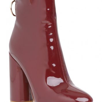 Level Up Ring Pull Detail Heeled Ankle Boots In Burgundy Patent PU
