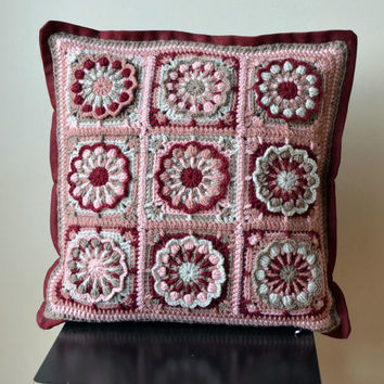 Shop Crochet Granny Square Pillow On Wanelo