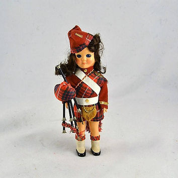 Celluloid Doll Scottish Boy -Kilt  Bagpipes - Vintage Made in England Costume Doll w/ Fur Sporran - Sleep Eyes