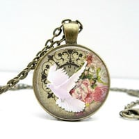 White Dove Necklace : Clock & Floral Design