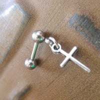 Cross Tragus Helix Cartilage Earring Piercing Ear Bar Barbell Jewelry Charm Dangle Stud Post 16g 16 G Gauge