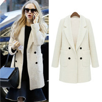Notched Collar Double Breasted Coat With Pockets