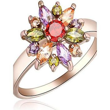 Women's Ring White Rose Rose Gold Zircon Alloy Flower Floral Flower Style Flowers Party Special Occasion Daily Costume Jewelry