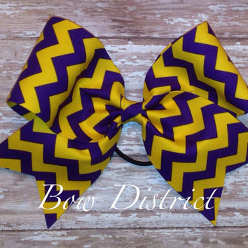 "3"" Purple and Yellow Chevron Cheer Bow"