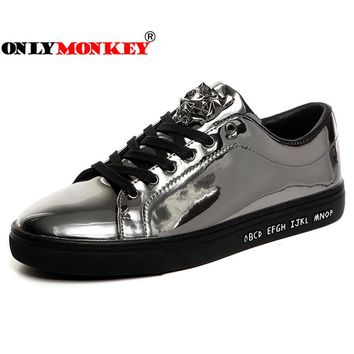 ONLYMONKEY Men Sequin Walking Shoes Glossy Men Waterproof Sport Shoes Male Rubber Sole Non-slip Sneakers 12colors