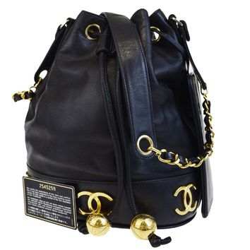 Auth CHANEL Triple Coco Drawstring Chain Shoulder Bag Leather Black 664BC217