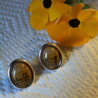 Picture Jasper Gemstone Earrings Natural Desert Scene Earth Colors Oval Shaped Polished Cabochon Beige Tan Gold .925 Sterling Silver Studs