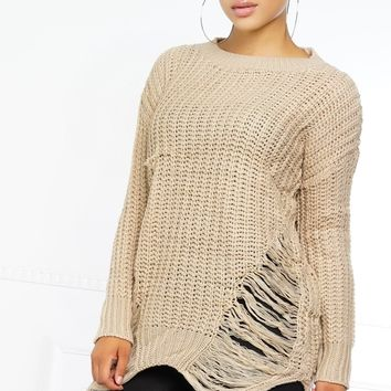 Rip Me Open Sweater - Taupe