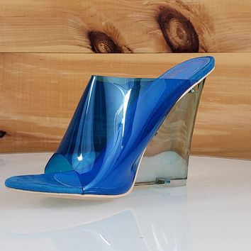 "CR Jelly Drop Clear Blue Lucite 3.5"" High Heel Slip On Wedge Sandal"