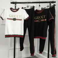 "Hot Sale ""GUCCI"" Fashion Women Red Green Stripe Short Sleeve T-Shirt Sport Pants Trousers Two Piece Sportswear(2-Color)I11930-1"