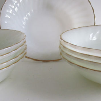 White Wedding Decor 9 pc Milk Glass Set  Bowl and Soup Plates Anchor Hocking White with Gold Trim