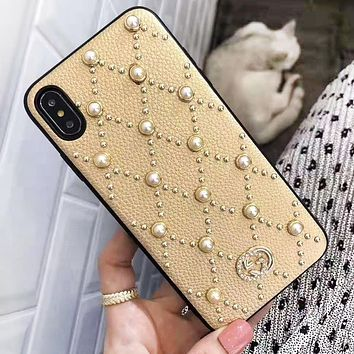 GUCCI New Fashion More Pearl Rivets Protective Cover Phone Case Golden