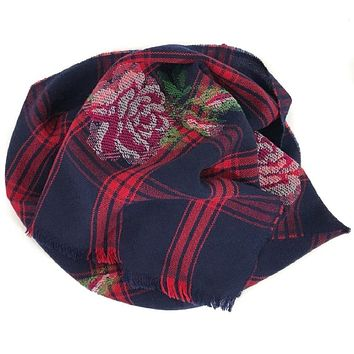 Gucci Womens Tartan Roses Midnight Blue Red Plaid Wool Scarf