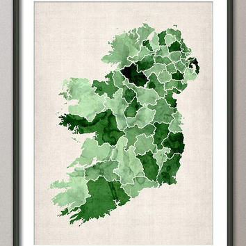 Ireland Watercolor Map Art Print on Etsy
