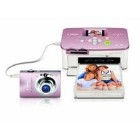 Canon - PowerShot 8.0MP Digital ELPH Camera and Selphy Compact Photo Printer Bundle - Pink