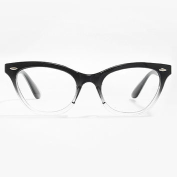 'Emma' Gradient Frame Cat Eye Clear Glasses - Black #1029-1