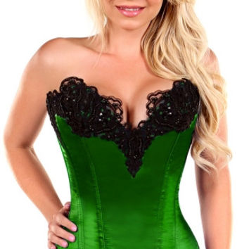 Plus Size Emerald Green Steel Boned and Beaded Corset