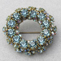 Stunning! Signed AUSTRIA Aqua Blue Crystal AB Rhinestone Wreath Circle Pin