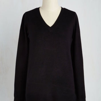 Mid-length Long Sleeve Versatile for Miles Sweater in Black