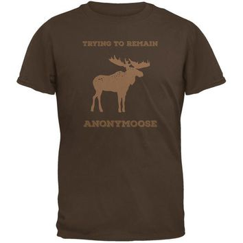 LMFCY8 PAWS - Moose Trying to Remain Anonymoose Brown Adult T-Shirt