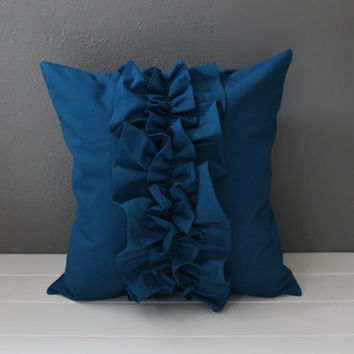 Modern Ruffled Pillow: Basil Green Ruffle Pillow, Midnight Blue Feminine Toss Pillow, Modern Girls Nursery, Ruby Red Throw Pillow--16 inch