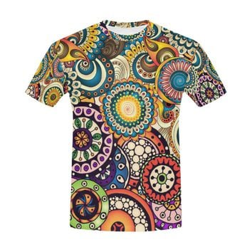 Doodle Flower Circles Ethnic Floral Pattern All Over Print T-Shirt for Men (USA Size) (Model T40)