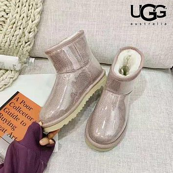 UGG 2018 winter new crystal transparent candy color waterproof cold warm snow boots