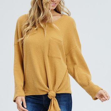Thermal Knit top with Front Tie - Mustard