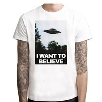 "Men's ""I Want To Believe"" X-Files Alien UFO Short Sleeve T-Shirt"
