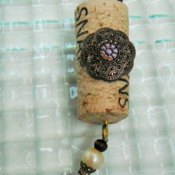 Wine Cork Ornament, Altered Cork Ornament, Bead Ornament, Repurposed Jewelry, Window Decor, Sun Catcher, Icicle Ornament, Christmas Ornament