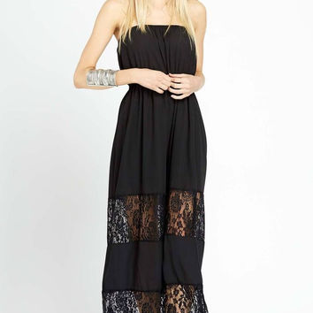 Prairie Perfect Strapless Lace Inset Maxi Dress