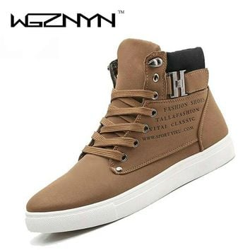 WGZNYN 2017 Fashion High Quality Men Leather Shoes High top Men's Casual Shoes Breathable Canvas Man Lace-up Sneakers
