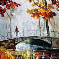 ON THE BRIDGE — PALETTE KNIFE Oil Painting On Canvas By Leonid Afremov - Size 16X20. use 10% discount coupon - deviantart10off