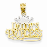 14k Two Tone Gold Daddys Princess Pendant