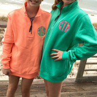 Sweatshirt Quarter Zip Lilly Pulitzer Monogram Applique  Font Natural Circle