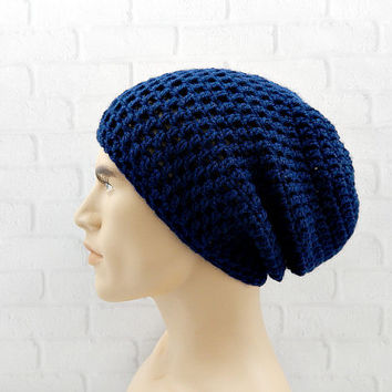 Slouchy Crochet Hat, NAVY BLUE Beanie, Beanie for Men, Baggy Hat, Winter Beanie Cap, Vegan Hat Blue, Slouch Beanie, Crochet Hat, Navy Beanie