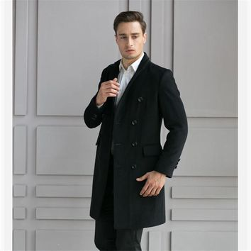 Men Long Trench Coat Windbreaker V-Neck Slim Fit Men Coat Casual Solid Black Autumn Winter Wool Men's Jackets Plus Size Overcoat