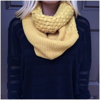 Weaved & Woven Knit Infinity Scarf - MUSTARD - Scarf