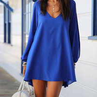Sapphire Blue Long Sleeve Cut-Out Chiffon Dress