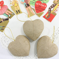 Paper Mache Heart Ornaments, DIY Valentine Decorations,
