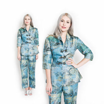 Vintage 50s Japanese Lounge Set - PEPLUM Blue Silk Brocade Pajama Set 1950s - Medium / Large