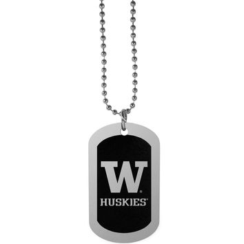 Washington Huskies Chrome Tag Necklace